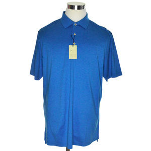 NEW Peter Millar Mens Polo Shirt Large Blue Crown